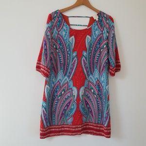 NWOT* Pink Owl Tribal Geometric Print Tunic Dress